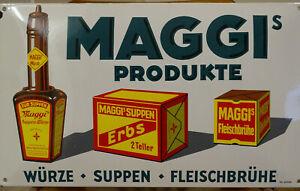 EMAILSCHILD Emaille GEWÖLBT MAGGI`S PRODUKTE 30 X 50 cm