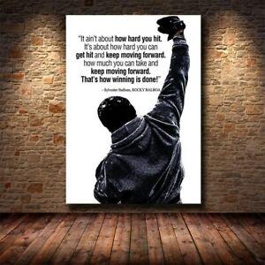 Black White Rocky Balboa Boxing Bodybuilding Gift Wall Decor Poster, no Framed