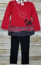 Kids Headquarters Girl's 2 Piece Outfit 4T Scottie Dog Plaid Polka Dots Holiday