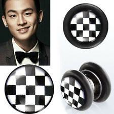 Pair Fake Illusion Non Piercing Magnetic Checkerboard Ear Gauges Plugs Set US OS