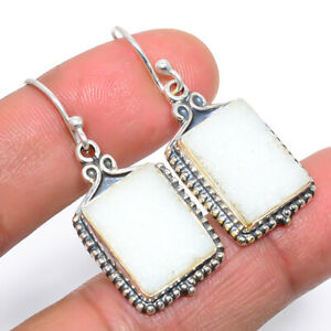"""White Agate Druzy Vintage 925 Sterling Silver Earring Jewelry 1.6"""" M1558"""