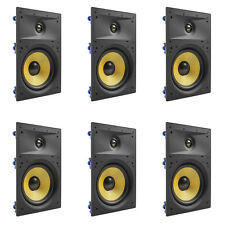 """6 Pack - TDX 8"""" 2-Way In Wall Home Theater Surround Sound Speaker Flush White"""