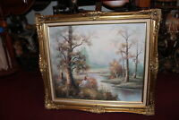 Original Oil Painting Woman Trees Water Stream Forest Gilded Wood Frame Signed