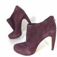 NWOB Sam Edelman High Heels Ankle Booties Wine Purple Suede Zipper Women Size 10