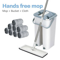 Squeeze Mop And Bucket Set Hand Free Flat Floor Self Cleaning Microfiber Pads F