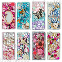 Flip Leather Phone Case Bling diamonds stand wallet cover & straps For Samsung 3