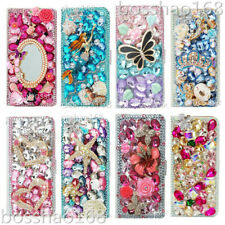 Flip Leather Phone Cases Bling diamonds stand wallet covers & straps For iPhone