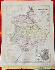 Old Map 1900 France Département d'Eure et Loir Chartres Janville Dreux Bonneval
