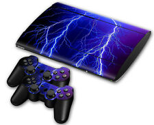 PS3 PlayStation 3 Super Slim Skin Design Foils Aufkleber Schutzfolie Lightning