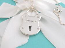 Tiffany & Co Silver Diamond Emblem Lock Key Hole Necklace