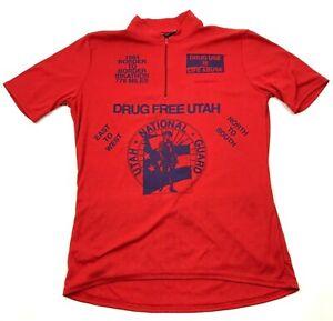 VINTAGE Bikathon Cycling Jersey Size Large Red 1/4 Zip Shirt DRUG FREE UTAH 1994