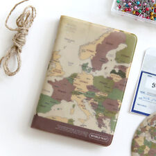Vintage style Brown World Map Passport Holder Cover Travel Wallet Card Case