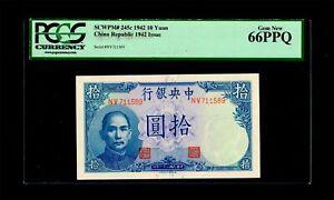 1942 China Republic Bank 10 yuan PCGS GEM 66 PPQ