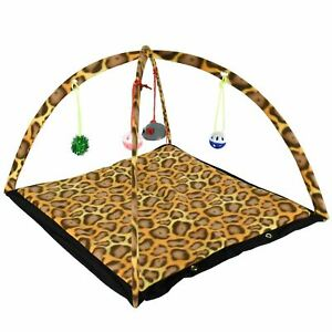 Cat Activity Play Tent Toy Kitten Mat Foldable Pet Bed Hanging Mouse Ball Bells