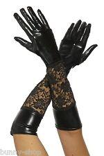 1 Paar ca. 45cm Ellenbogen lange Glänzende Wetlook Finger Handschuhe mit Spitze