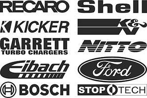 Recaro,kicker,garrett,eibach,bosch,shell,k&n,nitto,ford,stoptech stickers SK-100
