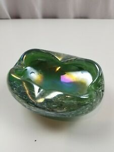 Vintage Dish Ashtray Green Bubble Art GlassIridescent Unique Rare