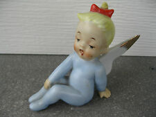 Christmas Blue Pixie Elf Angel Girl Vintage Japan Figurine Ceramic 1950's A0107