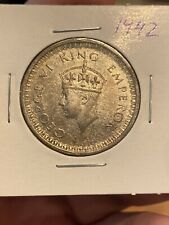 British India One Rupee 1942 Silver Coin, King George 6. Very Lustrous!