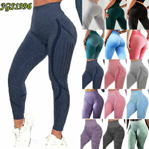 Womens Fitness Leggings Seamless Gym Sports High Waist Yoga Pants Stretch yy1