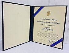 Defense Logistics Agency Award Signed By Brigadier General Henry Skeen US Army
