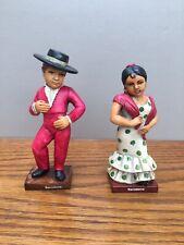 Vintage Souvenir Traditional Spanish Barcelona Matador Man Senorita Woman 14cm