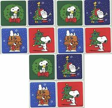 SNOOPY / Peanuts CHRISTMAS Xmas 12 LARGE Stickers! Tree Woodstock Santa