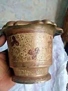 Old vintage  Hand Inlay Meena  Engraved Work Solid Brass  Vase Islamic Pot