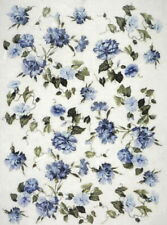 A/4 Rice Paper for Decoupage Scrapbooking Sheet Craft Blue Flowers