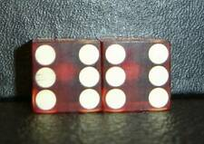 """Pair Vintage Loaded Red 11/16"""" Weighted Casino Dice-Winning Weight-With Monogram"""