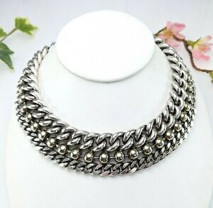 Vintage Statement Chunky Chain Collar Choker Necklace, Silver Tone