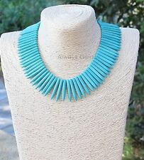 Turquoise Blue Howlite gemstone Spikes Gipsy Necklace Choker Boho handmade new