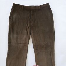 Orvis Mens Flat Front Solid Brown Corduroy Khaki Chino Dress Pants Size 42x30