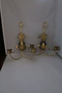 Pair of Antique Bronzed Pineapple Wall Sconces – Gorgeous!