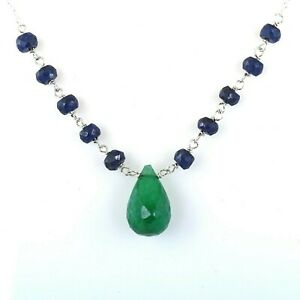 Designer Emerald Drop Gemstone Chain Necklace with Sapphire Beads! 24.85 Ct