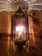 Vintage  Electric Hanging Lamp W/  Glass Shade