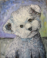 FIDGIE lost dog new oil painting 8x10 canvas original signed art signed Crowell