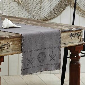 "VHC Brands Coastal 72""x13"" Seashells Table Runner Grey Sandy Kitchen Table Decor"