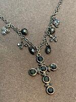 "Vintage Delicate Black On Black  Glass  Cross Crystal Drop Pendant Necklace 18"""