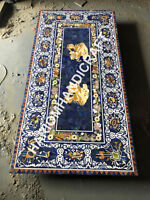 6'x3' Marble Dining Table Top Lapis Lazuli Random Marquetry Floral Inlaid  E947