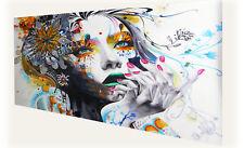 Canvas  80cmx 60cm not  Banksy Street Art Print urban princess white rainbow