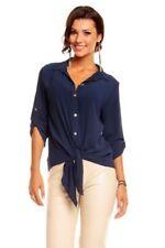 Maglie e camicie da donna camicetta blu con colletto classico