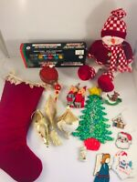 Vintage Junk Drawer Lot Estate Finds Christmas knee huggers, bubble lights,