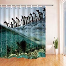 Polar penguins Waterproof Polyester-Fabric Shower Curtain & 12hooks 180*180CM