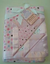 Carters Child of Mine Pink 2 Pack Receiving Blankets Reversible Flower Heart Dot