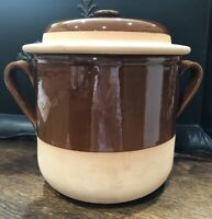 "Vintage NEW Grespots Digoin 10"" Baking BEAN CROCK #4 Brown GLAZE France POTTERY"