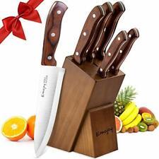 Couteaux Cuisines Professionnels 6 Pièces Acier Inoxydable BloC Support en Bois