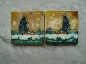 2 mirrored Royal Delft Cloisonne tiles with  ships porceleyne fles