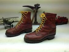 VINTAGE DISTRESSED OXBLOOD MADE IN USA CHIPPEWA LACE UP LOGGER BOOTS SIZE 9 E