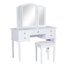 Wooden Vanity Makeup Dressing Table Set W/ Stool 5 Drawer Folding Tri Mirror